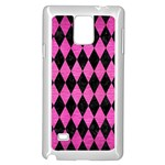 DIAMOND1 BLACK MARBLE & PINK BRUSHED METAL Samsung Galaxy Note 4 Case (White)