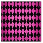 DIAMOND1 BLACK MARBLE & PINK BRUSHED METAL Large Satin Scarf (Square)