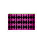 DIAMOND1 BLACK MARBLE & PINK BRUSHED METAL Cosmetic Bag (XS)