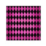 DIAMOND1 BLACK MARBLE & PINK BRUSHED METAL Small Satin Scarf (Square)