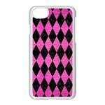 DIAMOND1 BLACK MARBLE & PINK BRUSHED METAL Apple iPhone 7 Seamless Case (White)