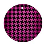 HOUNDSTOOTH1 BLACK MARBLE & PINK BRUSHED METAL Ornament (Round)