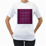 HOUNDSTOOTH1 BLACK MARBLE & PINK BRUSHED METAL Women s T-Shirt (White) (Two Sided)