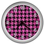 HOUNDSTOOTH1 BLACK MARBLE & PINK BRUSHED METAL Wall Clocks (Silver)