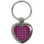 HOUNDSTOOTH1 BLACK MARBLE & PINK BRUSHED METAL Key Chains (Heart)