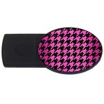 HOUNDSTOOTH1 BLACK MARBLE & PINK BRUSHED METAL USB Flash Drive Oval (2 GB)