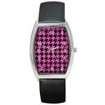 HOUNDSTOOTH1 BLACK MARBLE & PINK BRUSHED METAL Barrel Style Metal Watch