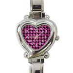 HOUNDSTOOTH1 BLACK MARBLE & PINK BRUSHED METAL Heart Italian Charm Watch