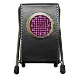 HOUNDSTOOTH1 BLACK MARBLE & PINK BRUSHED METAL Pen Holder Desk Clocks