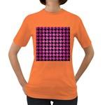 HOUNDSTOOTH1 BLACK MARBLE & PINK BRUSHED METAL Women s Dark T-Shirt