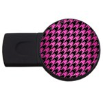 HOUNDSTOOTH1 BLACK MARBLE & PINK BRUSHED METAL USB Flash Drive Round (4 GB)