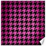 HOUNDSTOOTH1 BLACK MARBLE & PINK BRUSHED METAL Canvas 20  x 20
