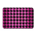 HOUNDSTOOTH1 BLACK MARBLE & PINK BRUSHED METAL Small Doormat