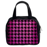 HOUNDSTOOTH1 BLACK MARBLE & PINK BRUSHED METAL Classic Handbags (2 Sides)