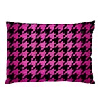 HOUNDSTOOTH1 BLACK MARBLE & PINK BRUSHED METAL Pillow Case