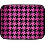 HOUNDSTOOTH1 BLACK MARBLE & PINK BRUSHED METAL Fleece Blanket (Mini)