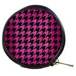 HOUNDSTOOTH1 BLACK MARBLE & PINK BRUSHED METAL Mini Makeup Bags
