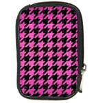 HOUNDSTOOTH1 BLACK MARBLE & PINK BRUSHED METAL Compact Camera Cases
