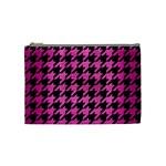 HOUNDSTOOTH1 BLACK MARBLE & PINK BRUSHED METAL Cosmetic Bag (Medium)
