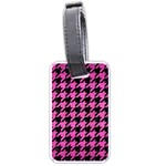 HOUNDSTOOTH1 BLACK MARBLE & PINK BRUSHED METAL Luggage Tags (Two Sides)
