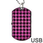 HOUNDSTOOTH1 BLACK MARBLE & PINK BRUSHED METAL Dog Tag USB Flash (Two Sides)