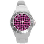 HOUNDSTOOTH1 BLACK MARBLE & PINK BRUSHED METAL Round Plastic Sport Watch (L)