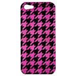HOUNDSTOOTH1 BLACK MARBLE & PINK BRUSHED METAL Apple iPhone 5 Hardshell Case