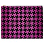 HOUNDSTOOTH1 BLACK MARBLE & PINK BRUSHED METAL Cosmetic Bag (XXXL)