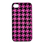 HOUNDSTOOTH1 BLACK MARBLE & PINK BRUSHED METAL Apple iPhone 4/4S Hardshell Case with Stand