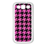 HOUNDSTOOTH1 BLACK MARBLE & PINK BRUSHED METAL Samsung Galaxy S3 Back Case (White)