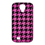 HOUNDSTOOTH1 BLACK MARBLE & PINK BRUSHED METAL Samsung Galaxy S4 Classic Hardshell Case (PC+Silicone)