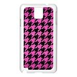 HOUNDSTOOTH1 BLACK MARBLE & PINK BRUSHED METAL Samsung Galaxy Note 3 N9005 Case (White)