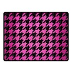 HOUNDSTOOTH1 BLACK MARBLE & PINK BRUSHED METAL Double Sided Fleece Blanket (Small)