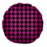 HOUNDSTOOTH1 BLACK MARBLE & PINK BRUSHED METAL Large 18  Premium Flano Round Cushions