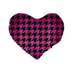 HOUNDSTOOTH1 BLACK MARBLE & PINK BRUSHED METAL Standard 16  Premium Flano Heart Shape Cushions