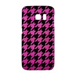 HOUNDSTOOTH1 BLACK MARBLE & PINK BRUSHED METAL Galaxy S6 Edge