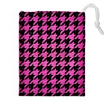 HOUNDSTOOTH1 BLACK MARBLE & PINK BRUSHED METAL Drawstring Pouches (XXL)