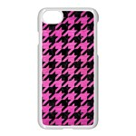 HOUNDSTOOTH1 BLACK MARBLE & PINK BRUSHED METAL Apple iPhone 7 Seamless Case (White)