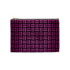 Woven1 Black Marble & Pink Brushed Metal (r) Cosmetic Bag (medium)  by trendistuff