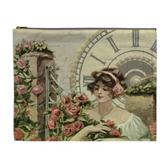 French Vintage Girl Roses Clock Cosmetic Bag (xl)