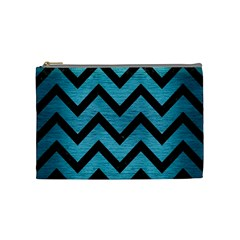 Chevron9 Black Marble & Teal Brushed Metal Cosmetic Bag (medium)  by trendistuff