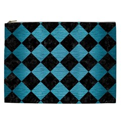 Square2 Black Marble & Teal Brushed Metal Cosmetic Bag (xxl)  by trendistuff