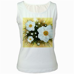 Summer Anemone Sylvestris Women s White Tank Top by Celenk