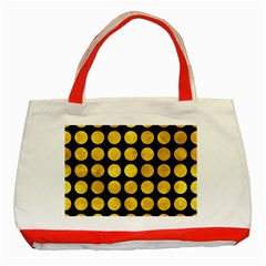 Circles1 Black Marble & Gold Paint (r) Classic Tote Bag (red)