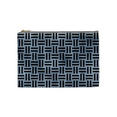 Woven1 Black Marble & Silver Paint Cosmetic Bag (medium)  by trendistuff