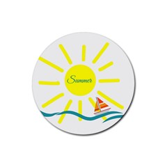 Summer Beach Holiday Holidays Sun Rubber Coaster (round)  by Celenk