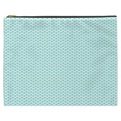 Tiffany Aqua Blue Lipstick Kisses On White Cosmetic Bag (xxxl)  by PodArtist