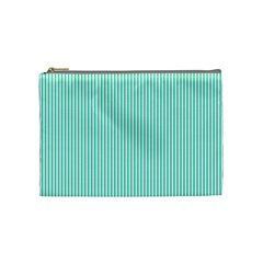Classy Tiffany Aqua Blue Sailor Stripes Cosmetic Bag (medium)  by PodArtist