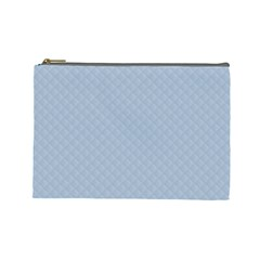 Powder Blue Stitched And Quilted Pattern Cosmetic Bag (large)  by PodArtist