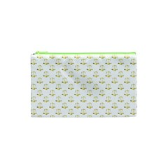 Gold Scales Of Justice On White Repeat Pattern All Over Print Cosmetic Bag (xs) by PodArtist